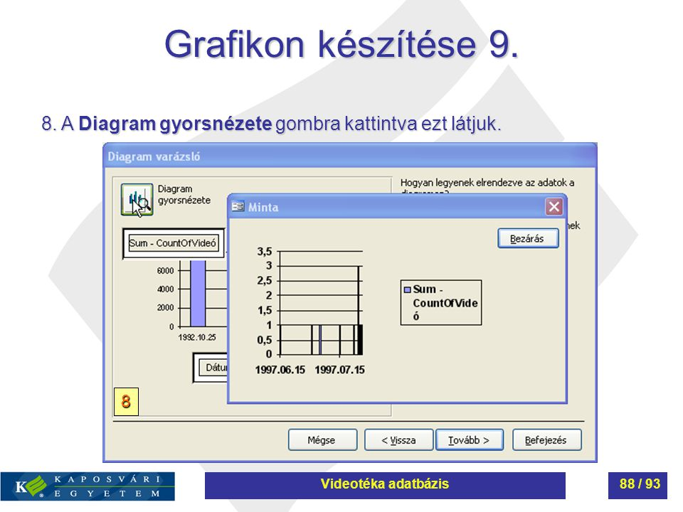 Grafikon készítése 9. 8. A Diagram gyorsnézete gombra kattintva ezt látjuk. 8 Videotéka adatbázis88 / 93