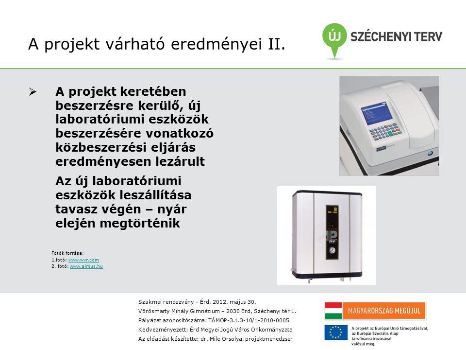 A projekt várható eredményei II.