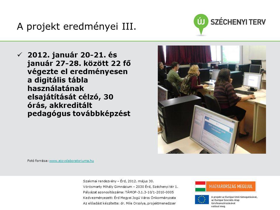 A projekt eredményei III.2012. január 20-21. és január 27-28.