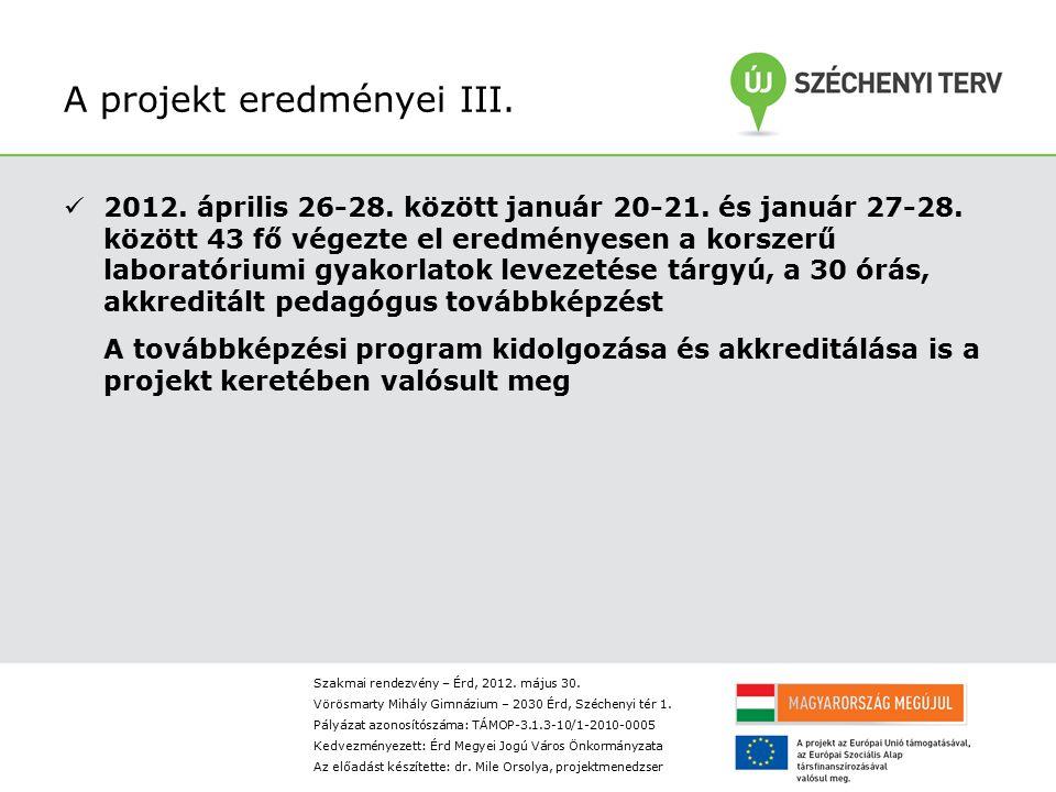 A projekt eredményei III.2012. április 26-28. között január 20-21.
