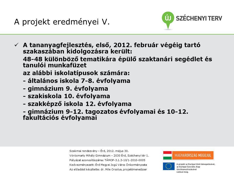 A projekt eredményei V.A tananyagfejlesztés, első, 2012.