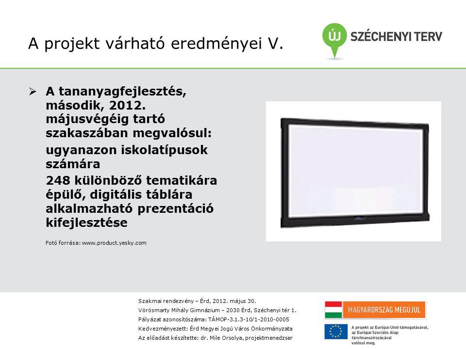 A projekt várható eredményei V. A tananyagfejlesztés, második, 2012.