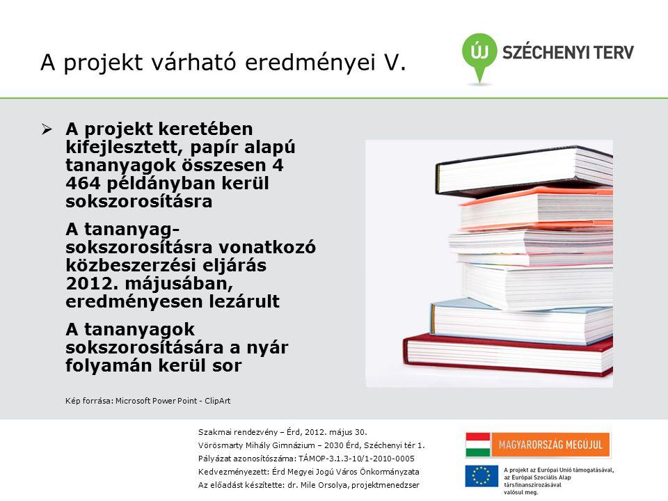 A projekt várható eredményei V.