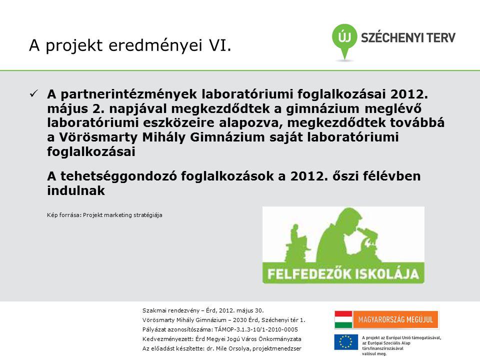 A projekt eredményei VI.A partnerintézmények laboratóriumi foglalkozásai 2012.