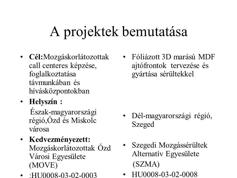 A projektek bemutatása Cél:Mozgáskorlátozottak call centeres képzése, foglalkoztatása távmunkában és hívásközpontokban Helyszín : Észak-magyarországi régió,Ózd és Miskolc városa Kedvezményezett: Mozgáskorlátozottak Ózd Városi Egyesülete (MOVE) :HU0008-03-02-0003 Fóliázott 3D marású MDF ajtófrontok tervezése és gyártása sérültekkel Dél-magyarországi régió, Szeged Szegedi Mozgássérültek Alternatív Egyesülete (SZMA) HU0008-03-02-0008