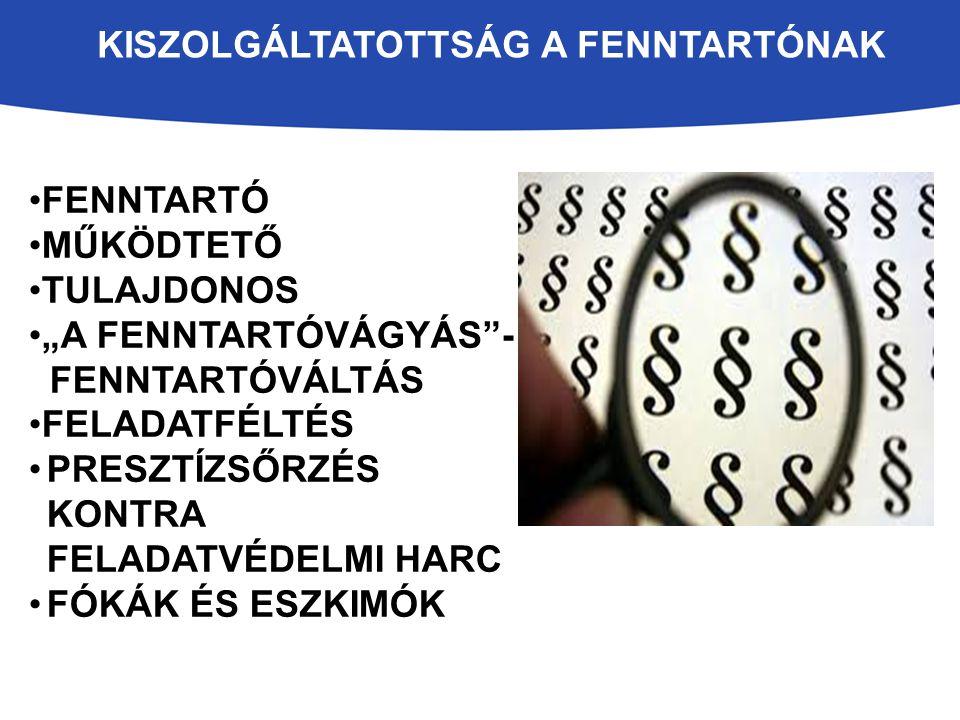 """KISZOLGÁLTATOTTSÁG A FENNTARTÓNAK FENNTARTÓ MŰKÖDTETŐ TULAJDONOS """"A FENNTARTÓVÁGYÁS - FENNTARTÓVÁLTÁS FELADATFÉLTÉS PRESZTÍZSŐRZÉS KONTRA FELADATVÉDELMI HARC FÓKÁK ÉS ESZKIMÓK"""