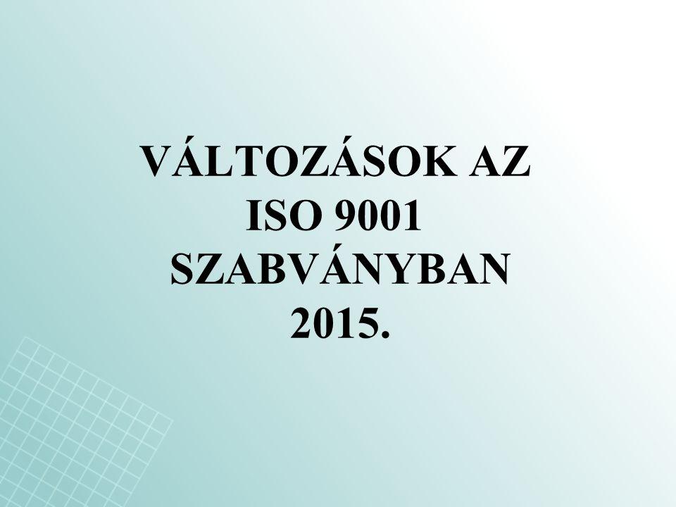 VÁLTOZÁSOK AZ ISO 9001 SZABVÁNYBAN 2015.