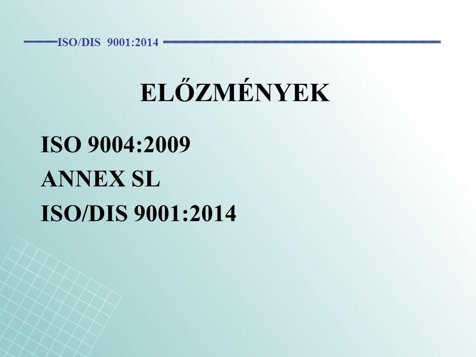 ELŐZMÉNYEK ISO 9004:2009 ANNEX SL ISO/DIS 9001:2014