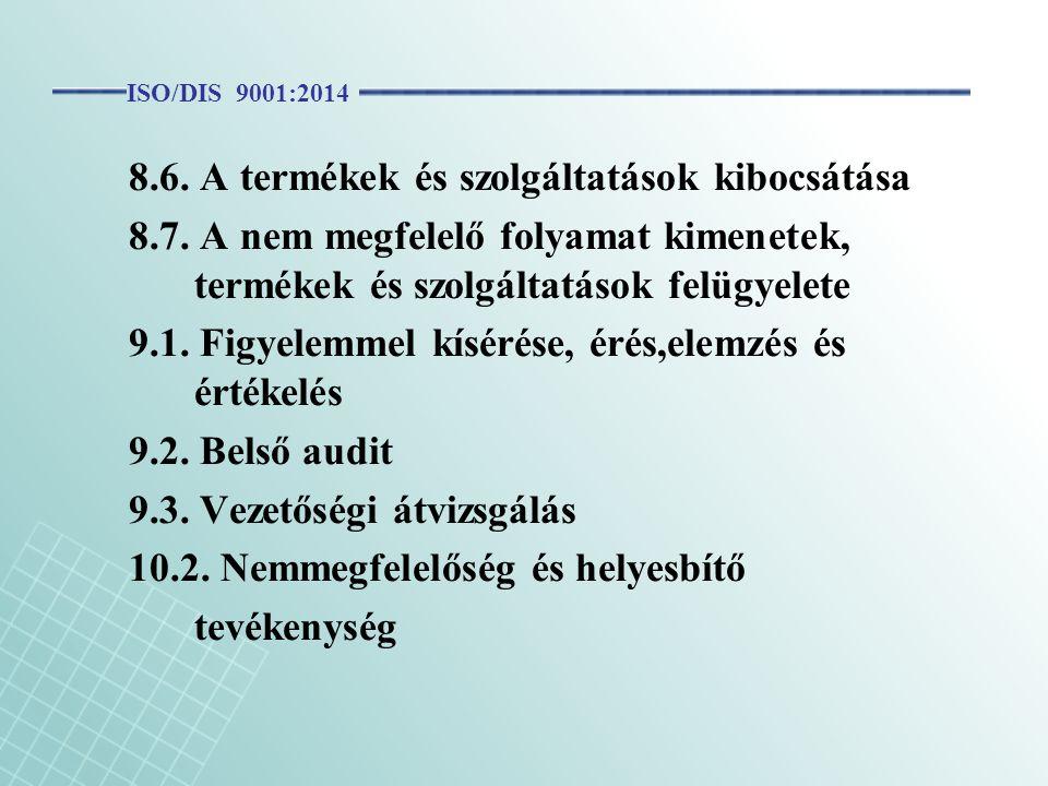 8.6. A termékek és szolgáltatások kibocsátása 8.7. A nem megfelelő folyamat kimenetek, termékek és szolgáltatások felügyelete 9.1. Figyelemmel kísérés