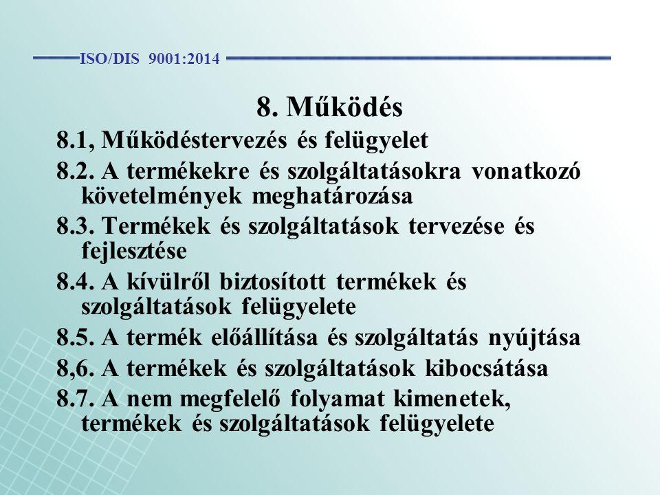 8. Működés 8.1, Működéstervezés és felügyelet 8.2. A termékekre és szolgáltatásokra vonatkozó követelmények meghatározása 8.3. Termékek és szolgáltatá