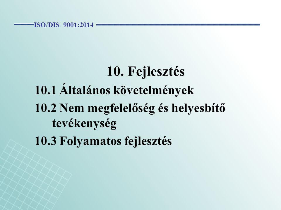 10. Fejlesztés 10.1 Általános követelmények 10.2 Nem megfelelőség és helyesbítő tevékenység 10.3 Folyamatos fejlesztés ISO/DIS 9001:2014