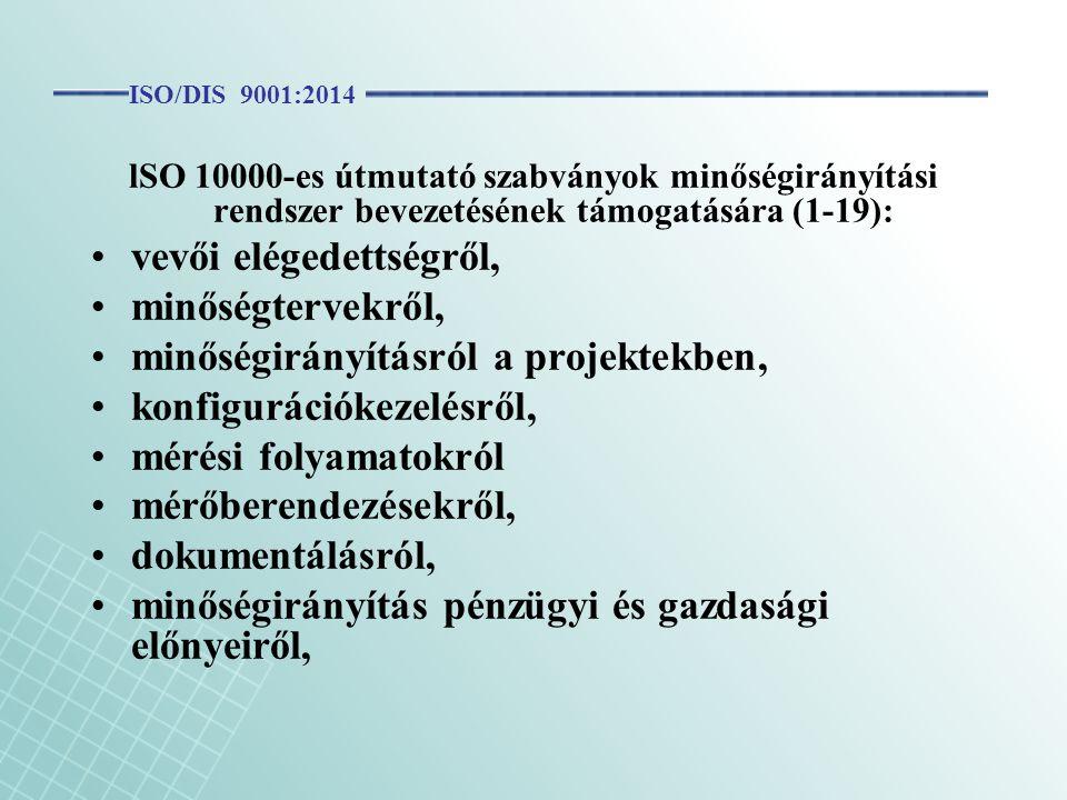 lSO 10000-es útmutató szabványok minőségirányítási rendszer bevezetésének támogatására (1-19): vevői elégedettségről, minőségtervekről, minőségirányít