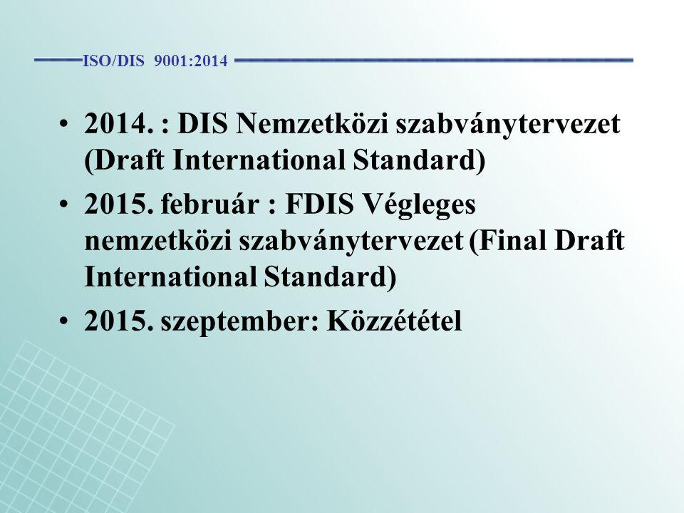 2014. : DIS Nemzetközi szabványtervezet (Draft International Standard) 2015. február : FDIS Végleges nemzetközi szabványtervezet (Final Draft Internat