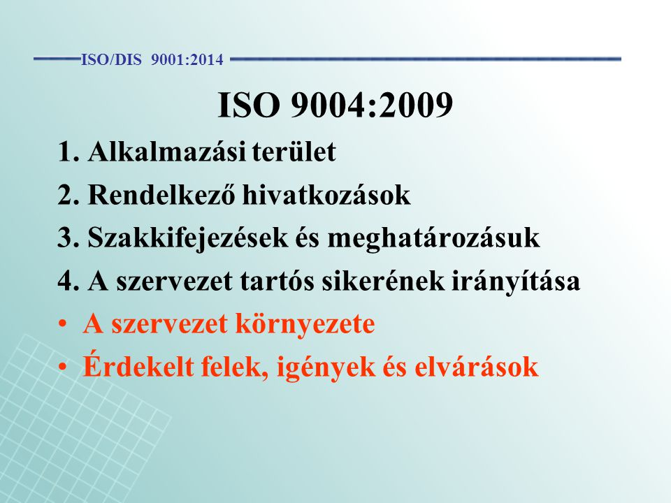 ISO 9004:2009 1. Alkalmazási terület 2. Rendelkező hivatkozások 3. Szakkifejezések és meghatározásuk 4. A szervezet tartós sikerének irányítása A szer