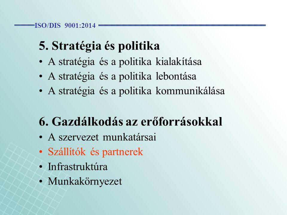 5. Stratégia és politika A stratégia és a politika kialakítása A stratégia és a politika lebontása A stratégia és a politika kommunikálása 6. Gazdálko