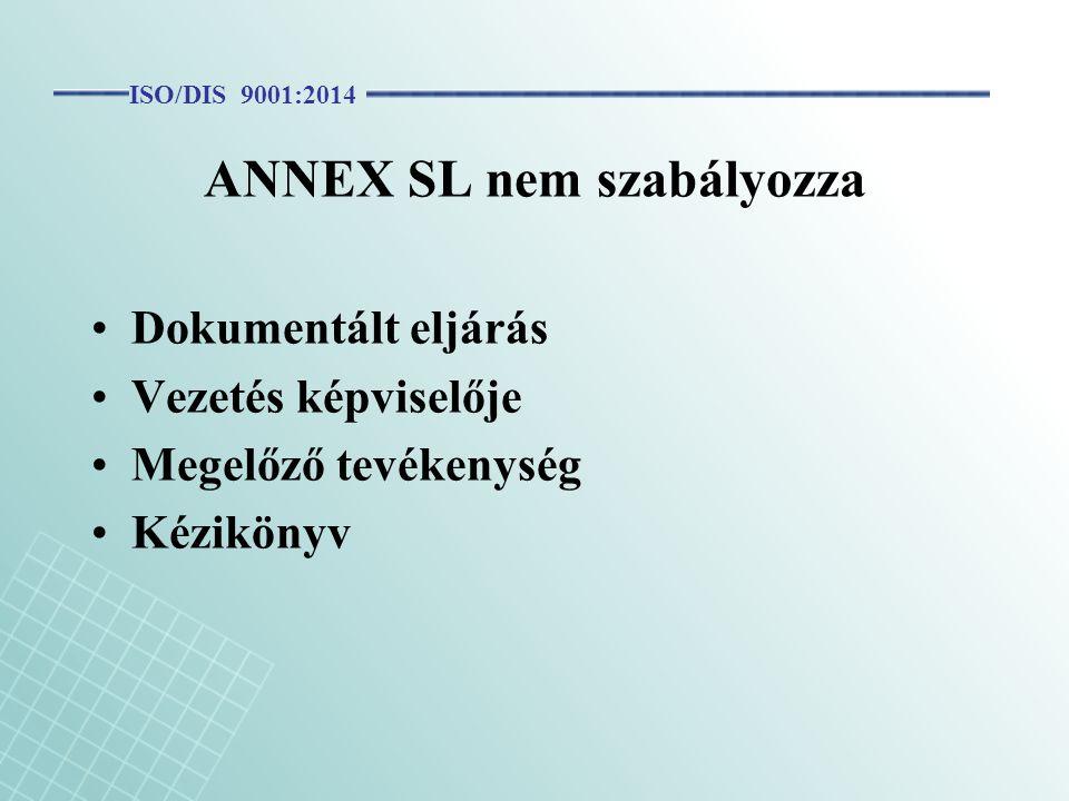 ANNEX SL nem szabályozza Dokumentált eljárás Vezetés képviselője Megelőző tevékenység Kézikönyv ISO/DIS 9001:2014