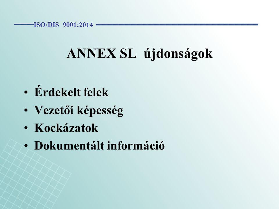 ANNEX SL újdonságok Érdekelt felek Vezetői képesség Kockázatok Dokumentált információ ISO/DIS 9001:2014