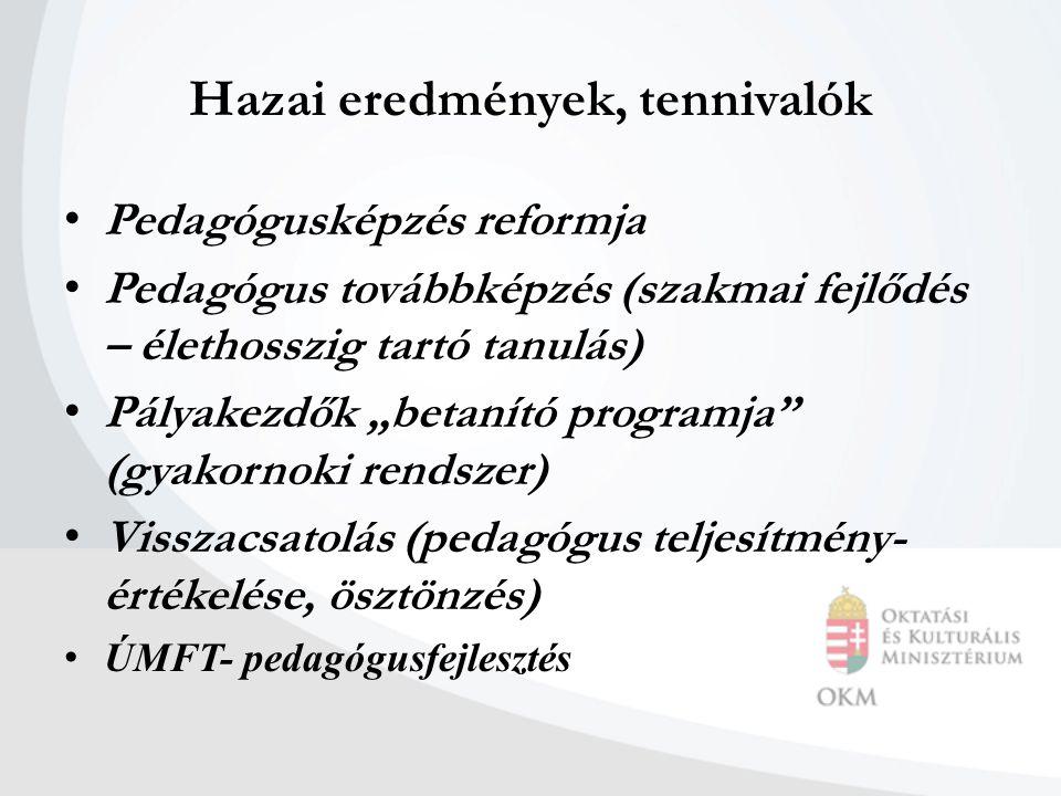 """Hazai eredmények, tennivalók Pedagógusképzés reformja Pedagógus továbbképzés (szakmai fejlődés – élethosszig tartó tanulás) Pályakezdők """"betanító programja (gyakornoki rendszer) Visszacsatolás (pedagógus teljesítmény- értékelése, ösztönzés) ÚMFT- pedagógusfejlesztés"""