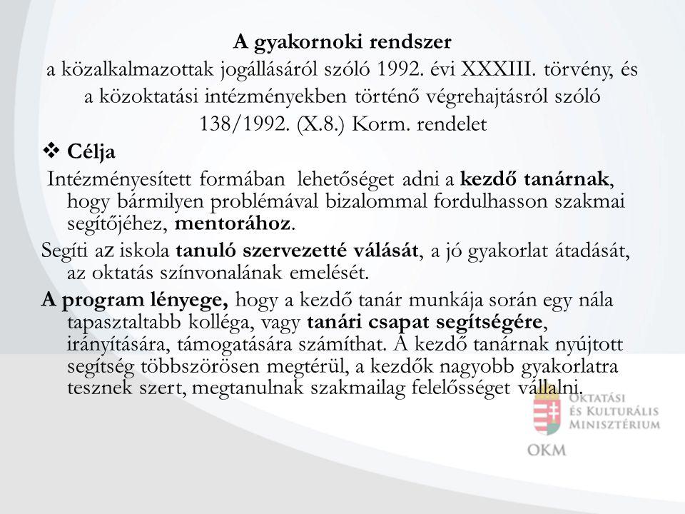 A gyakornoki rendszer a közalkalmazottak jogállásáról szóló 1992.