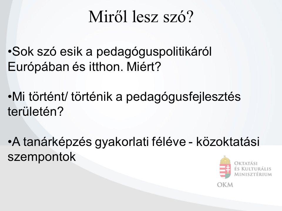"""EURÓPAI PEDAGÓGUSPOLITIKA  Előtérbe került a pedagóguspolitika  a minőség és eredményesség összekapcsolódik a tanári munkával  tanári kompetenciák meghatározása, fejlesztése  pedagógusképzés tartalmi fejlesztése (Lisszabon ) 1.Lisszaboni folyamat: 2002-es munkaprogram céljai között: """"a tanárok és oktatók képzésének fejlesztése 2."""