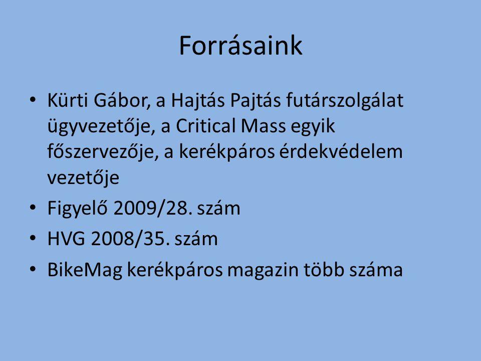 Forrásaink Kürti Gábor, a Hajtás Pajtás futárszolgálat ügyvezetője, a Critical Mass egyik főszervezője, a kerékpáros érdekvédelem vezetője Figyelő 2009/28.