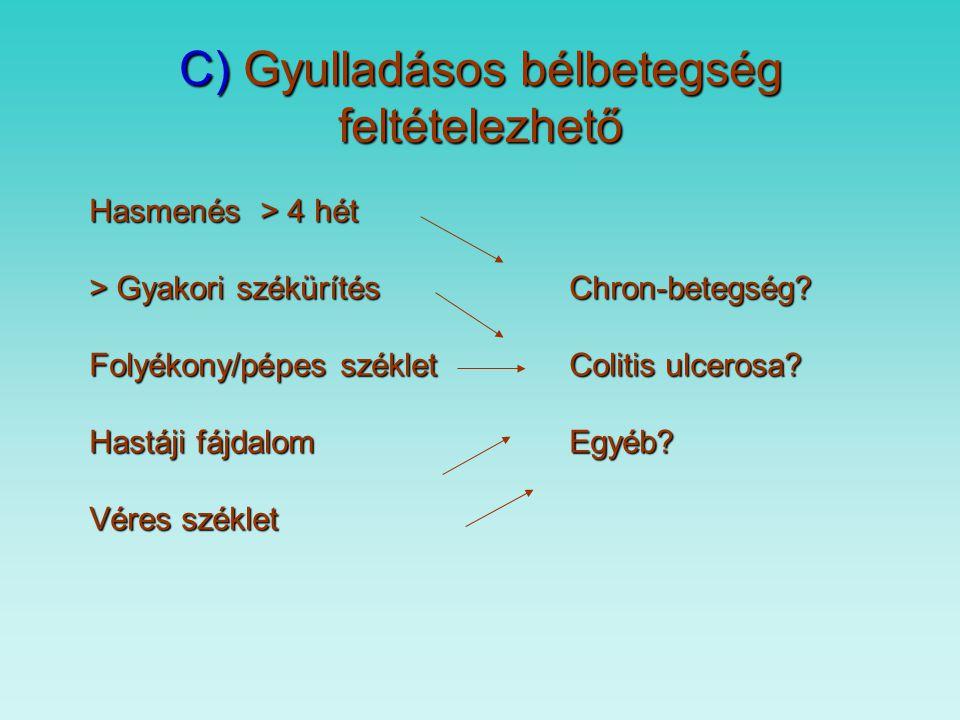 B ) Coeliakia diagnózis 1. 1969. Interlaken 3 alkalommal vékonybél biopsziából 2.1990. 2 évnél idősebb, tünetet mutató beteg, 1 biopszi a, diétára jav