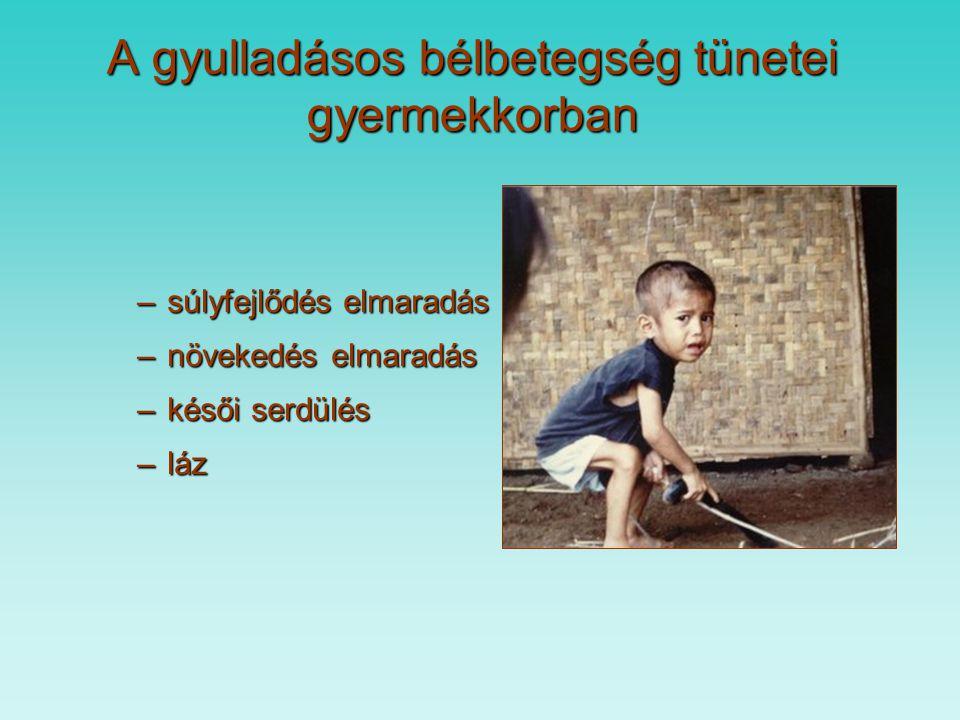 C) Gyulladásos bélbetegségek: Extraintestinalis tünetek Polyarthritis, monarthritis,26% arthritis sacroiliaca Gyakoriság Erythema nodosum,19% Pyoderma