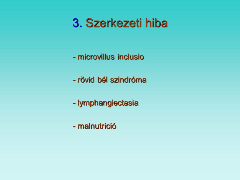 3. Szerkezeti hiba - microvillus inclusio - rövid bél szindróma - lymphangiectasia - malnutrició