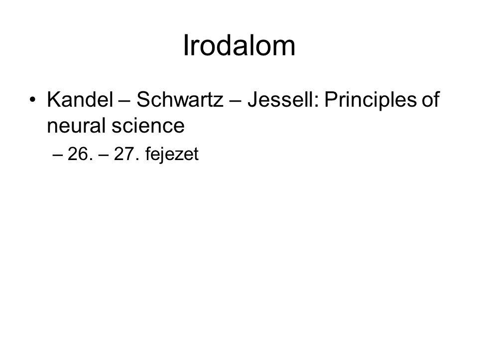 Irodalom Kandel – Schwartz – Jessell: Principles of neural science –26. – 27. fejezet
