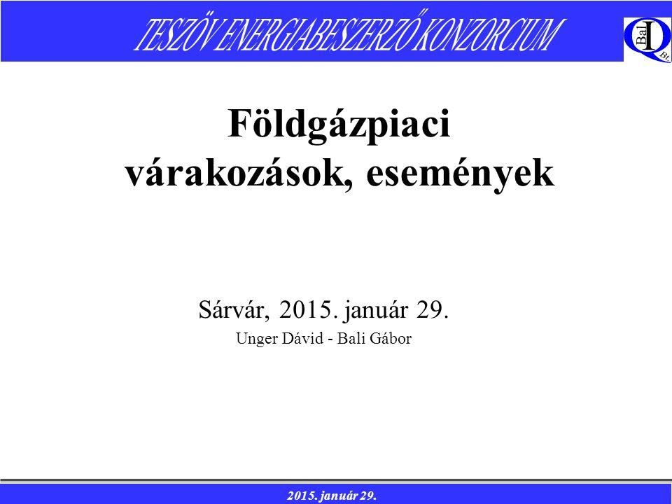 2015. január 29. Földgázpiaci várakozások, események Sárvár, 2015.