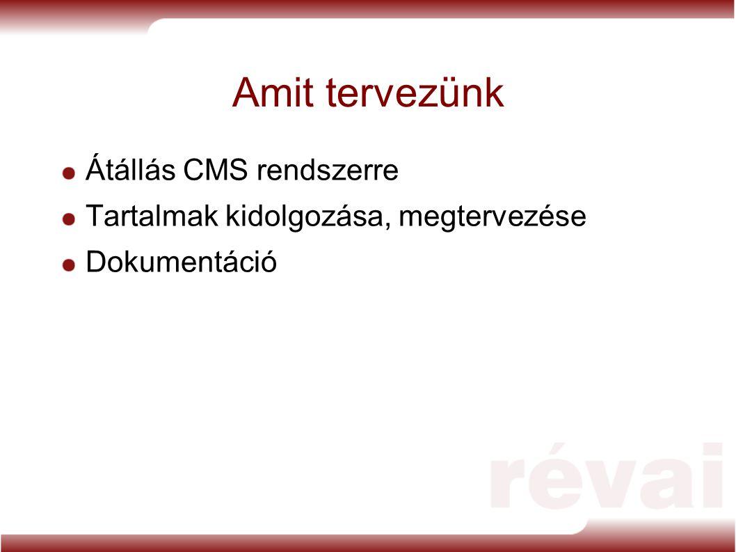 Amit tervezünk Átállás CMS rendszerre Tartalmak kidolgozása, megtervezése Dokumentáció