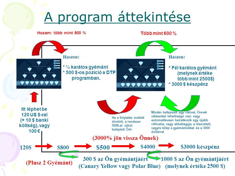 A program áttekintése Haszon: * ¼ karátos gyémánt * 500 $-os pozíció a DTP programban.