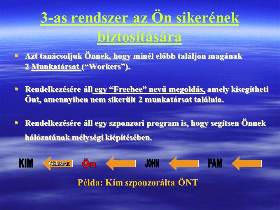 3-as rendszer az Ön sikerének biztosítására  Azt tanácsoljuk Önnek, hogy minél előbb találjon magának 2 Munkatársat ( Workers ).