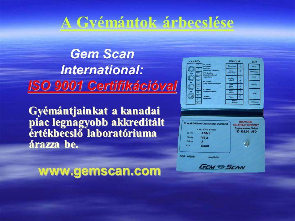A Gyémántok árbecslése Gem Scan International: ISO 9001 Certifikációval Gyémántjainkat a kanadai piac legnagyobb akkreditált értékbecslő laboratóriuma árazza be.