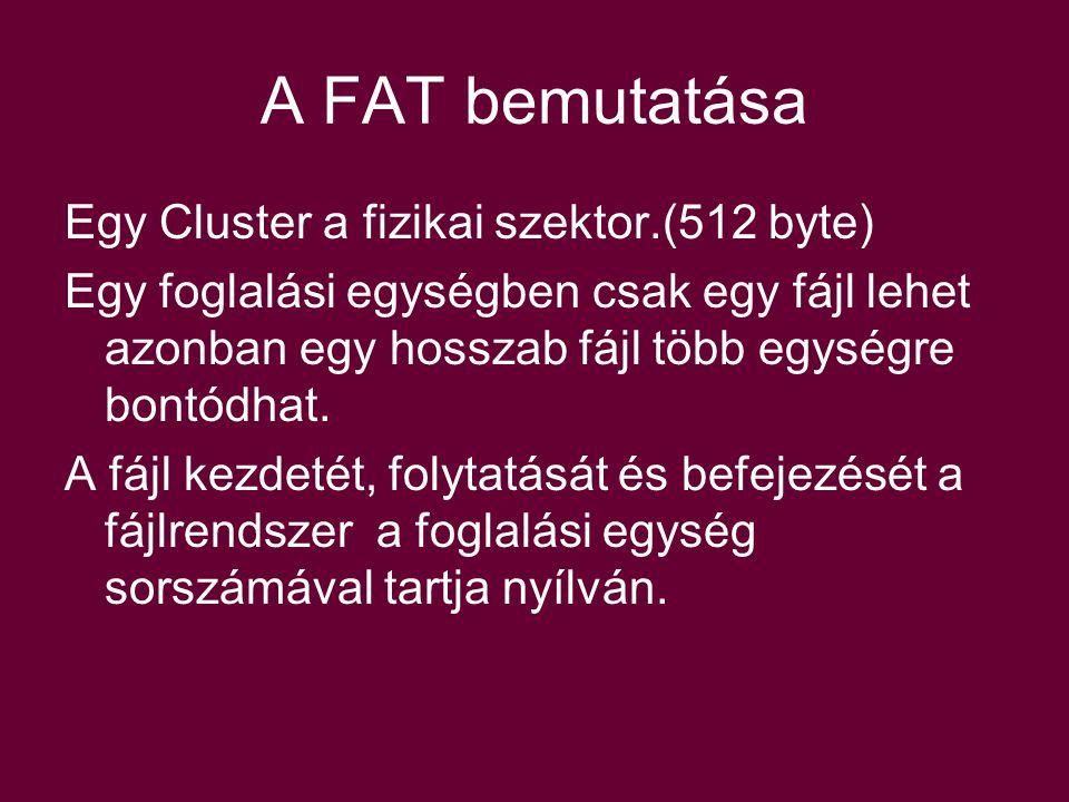 Egy Cluster a fizikai szektor.(512 byte) Egy foglalási egységben csak egy fájl lehet azonban egy hosszab fájl több egységre bontódhat.