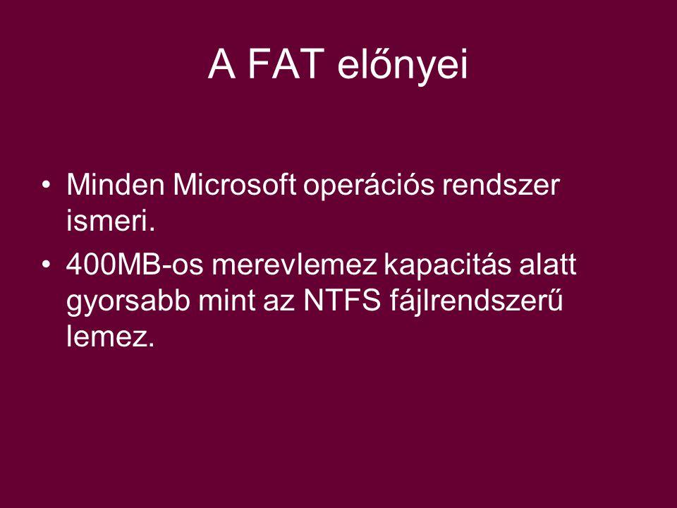 A FAT előnyei Minden Microsoft operációs rendszer ismeri.