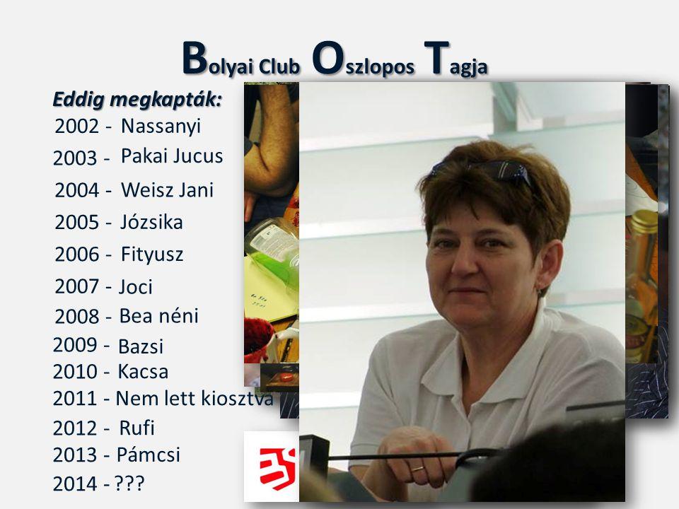 B olyai Club O szlopos T agja 2002 - 2003 - 2004 - 2005 - 2006 - Nassanyi Pakai Jucus Weisz Jani Józsika Fityusz 2007 - 2008 - Joci 2009 - Bea néni Ba