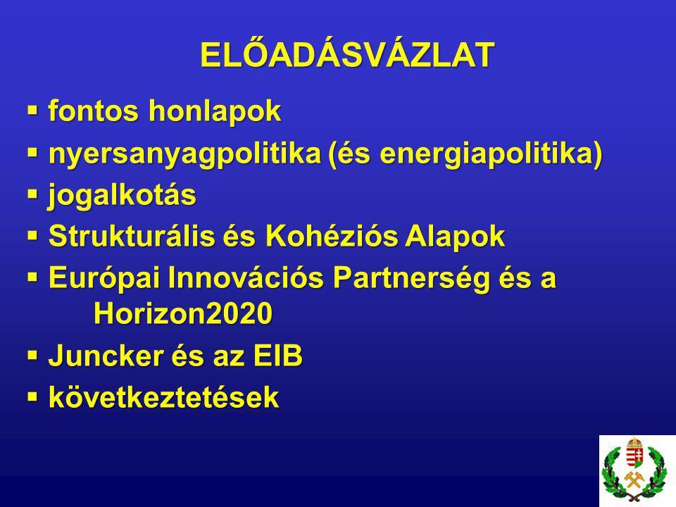 ELŐADÁSVÁZLAT  fontos honlapok  nyersanyagpolitika (és energiapolitika)  jogalkotás  Strukturális és Kohéziós Alapok  Európai Innovációs Partnerség és a Horizon2020  Juncker és az EIB  következtetések