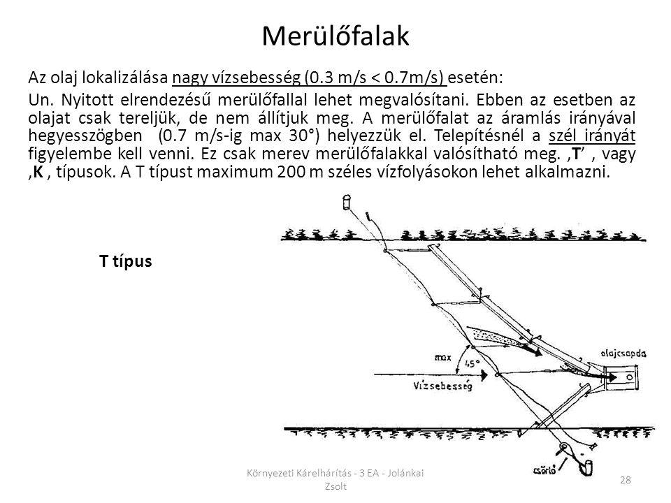 Az olaj lokalizálása nagy vízsebesség (0.3 m/s < 0.7m/s) esetén: Un. Nyitott elrendezésű merülőfallal lehet megvalósítani. Ebben az esetben az olajat