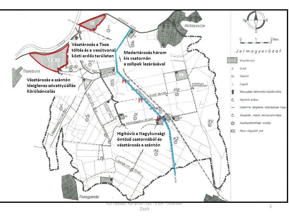 5 Vésztározás a szántón Ideiglenes szivattyúállás Körülsáncolás Vésztározás a Tisza töltés és a vasútvonal közti erdős területen Medertározás három ki
