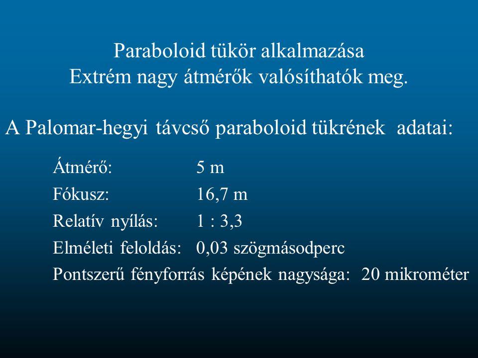 Paraboloid tükör alkalmazása Extrém nagy átmérők valósíthatók meg. A Palomar-hegyi távcső paraboloid tükrének adatai: Átmérő:5 m Fókusz:16,7 m Relatív
