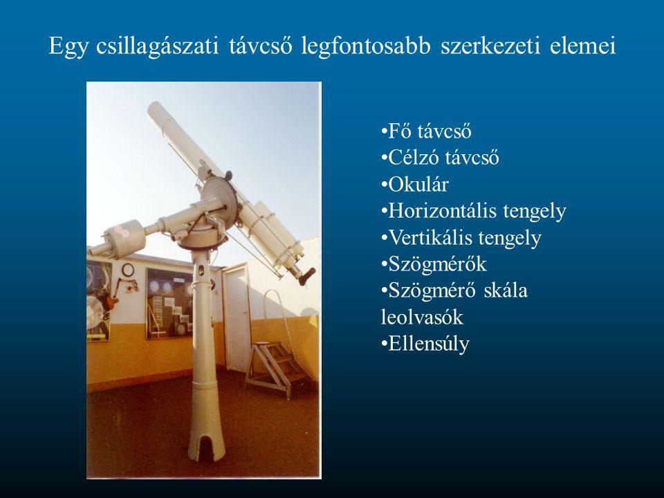 Egy csillagászati távcső legfontosabb szerkezeti elemei Fő távcső Célzó távcső Okulár Horizontális tengely Vertikális tengely Szögmérők Szögmérő skála