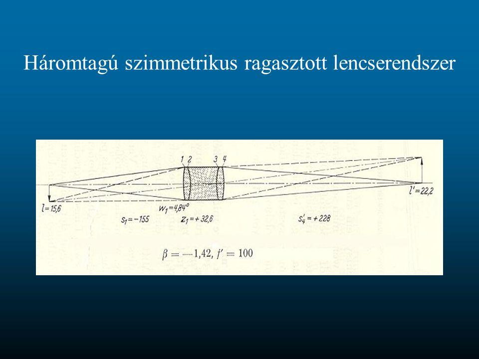 Háromtagú szimmetrikus ragasztott lencserendszer