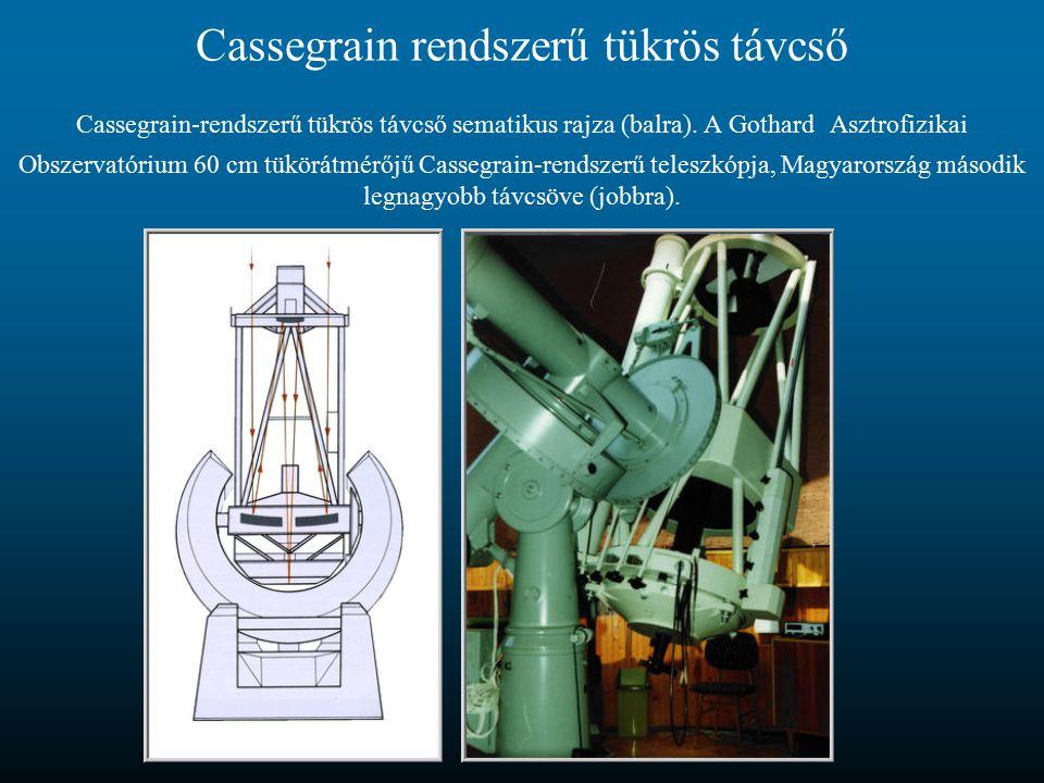 Cassegrain rendszerű tükrös távcső Cassegrain-rendszerű tükrös távcső sematikus rajza (balra). A Gothard Asztrofizikai Obszervatórium 60 cm tükörátmér