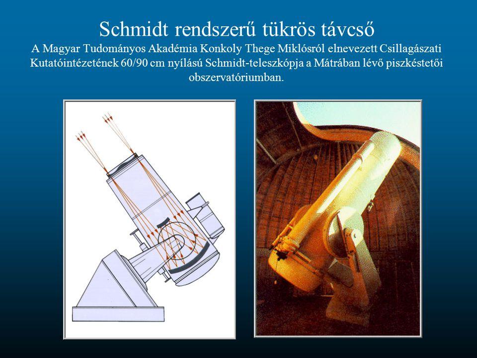 Schmidt rendszerű tükrös távcső A Magyar Tudományos Akadémia Konkoly Thege Miklósról elnevezett Csillagászati Kutatóintézetének 60/90 cm nyílású Schmi