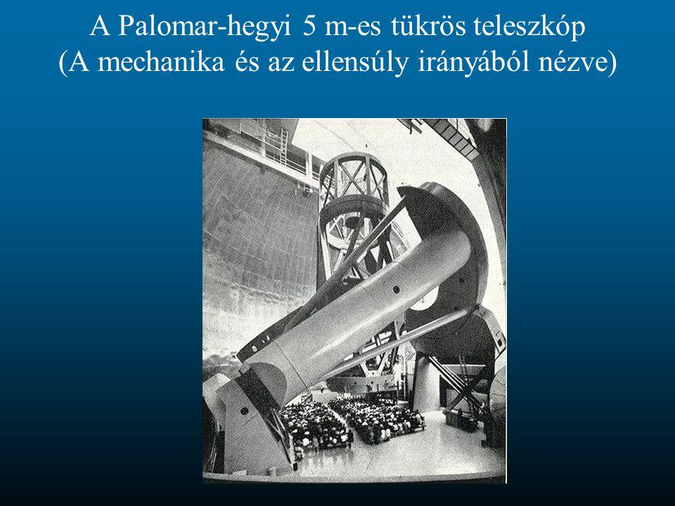 A Palomar-hegyi 5 m-es tükrös teleszkóp (A mechanika és az ellensúly irányából nézve)