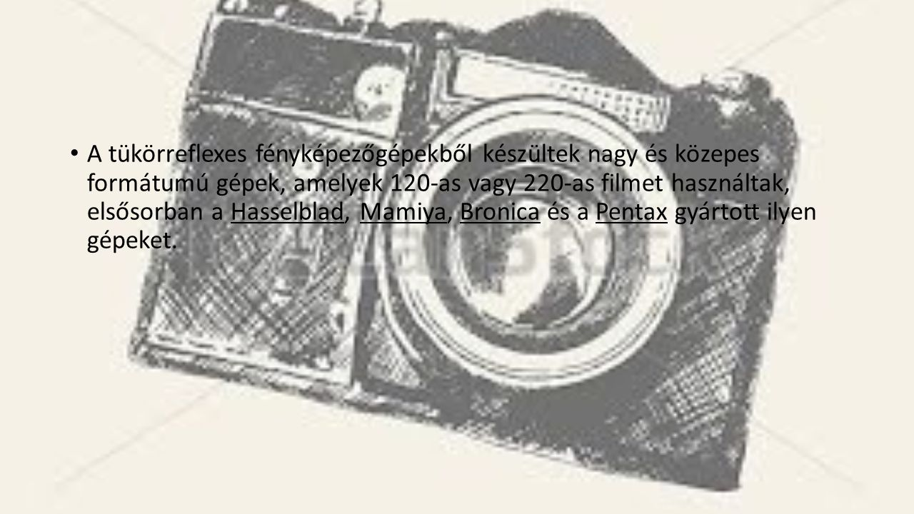 A tükörreflexes fényképezőgépekből készültek nagy és közepes formátumú gépek, amelyek 120-as vagy 220-as filmet használtak, elsősorban a Hasselblad, M
