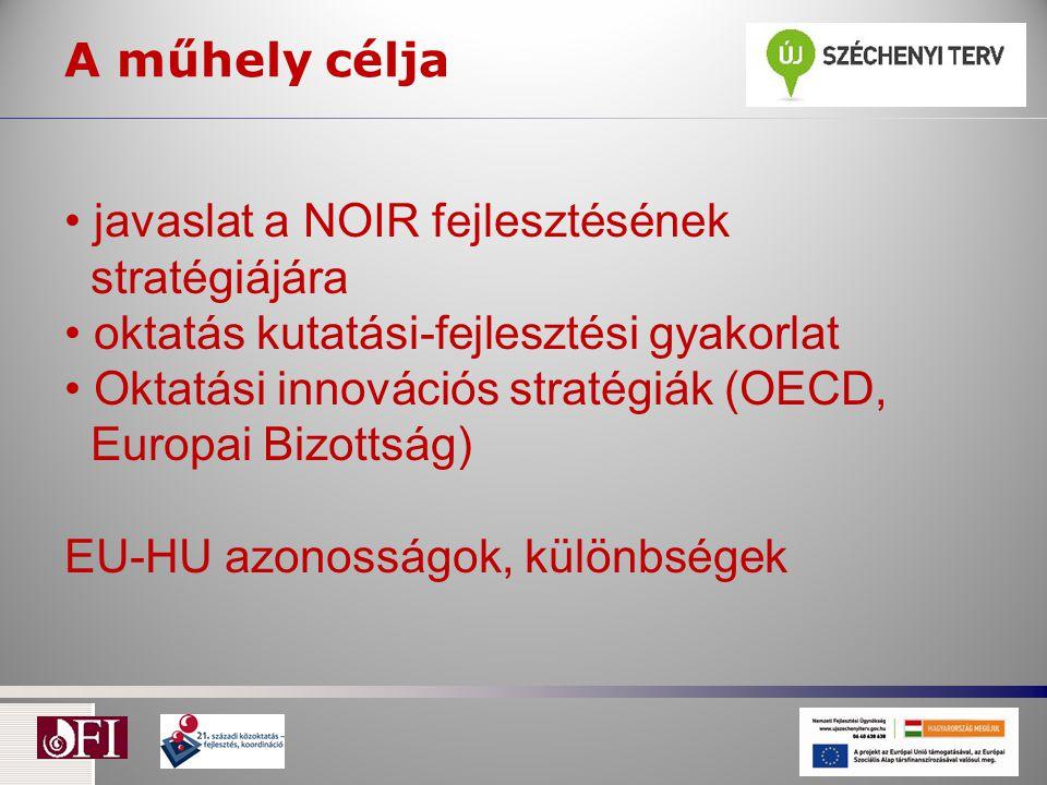 A műhely célja javaslat a NOIR fejlesztésének stratégiájára oktatás kutatási-fejlesztési gyakorlat Oktatási innovációs stratégiák (OECD, Europai Bizottság) EU-HU azonosságok, különbségek
