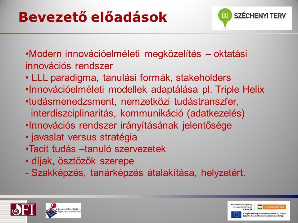 Bevezető előadások Modern innovációelméleti megközelítés – oktatási innovációs rendszer LLL paradigma, tanulási formák, stakeholders Innovációelméleti modellek adaptálása pl.