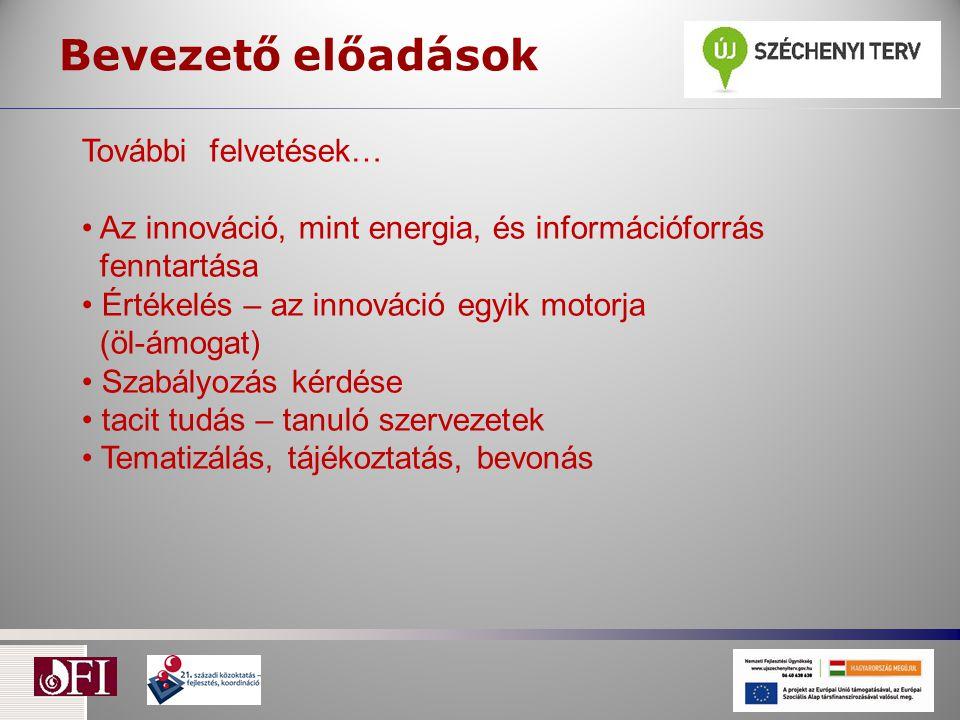 Bevezető előadások További felvetések… Az innováció, mint energia, és információforrás fenntartása Értékelés – az innováció egyik motorja (öl-ámogat) Szabályozás kérdése tacit tudás – tanuló szervezetek Tematizálás, tájékoztatás, bevonás
